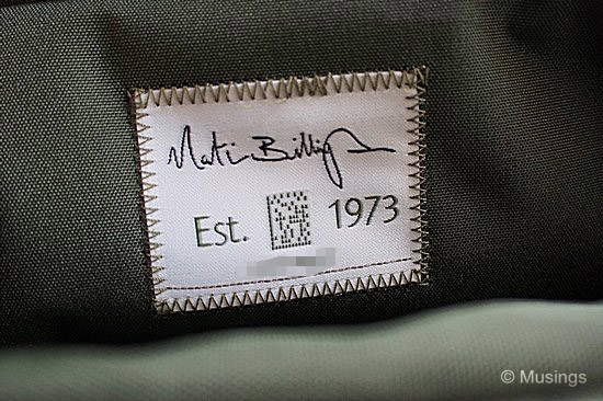 Every bag has a stitched label - and the bag's unique serial number is stitched into the bag too. Amazing.