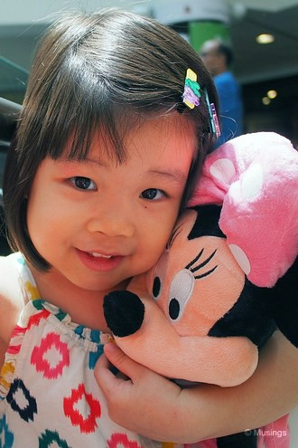 At TampinesOne. I picked up a 40cm tall Minnie plush toy, something our girl has been pining for a couple of months now. Minnie now accompanies her everywhere she goes.:)
