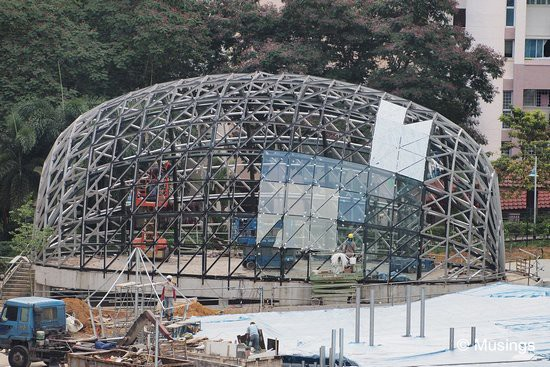 The first glass panels of the Badminton dome have been installed.