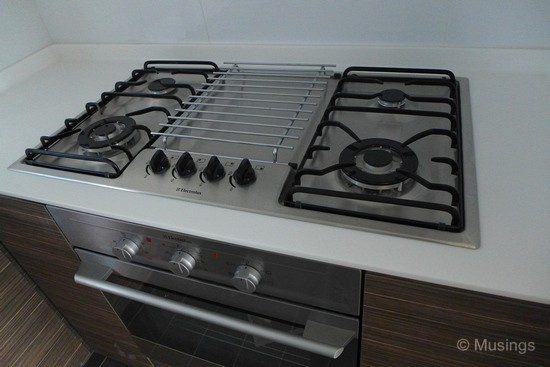 Electrolux stove and oven in the kitchen.