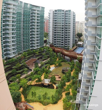 Panoramic stitch of Blocks 10 and 14 against Tranquil World. The picture's perspective - fisheye as it is - is actually a pretty good representation of what it looks like from the opposing HDB apartment block at level 12.