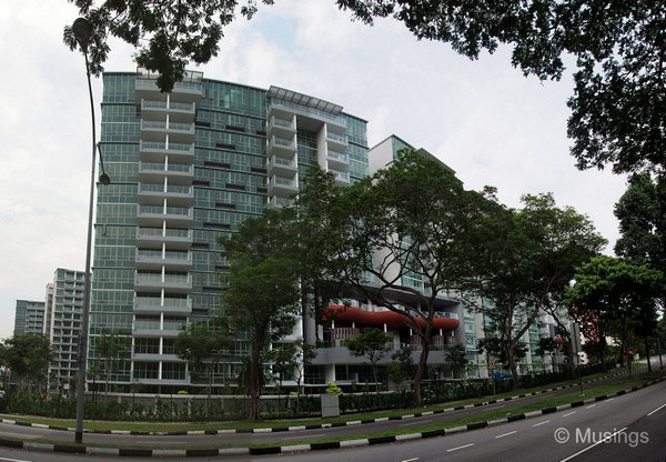 Panoramic stitch taken from the opposite side of Lorong Ah Soo. The road facing units do get a bit of tree coverage.