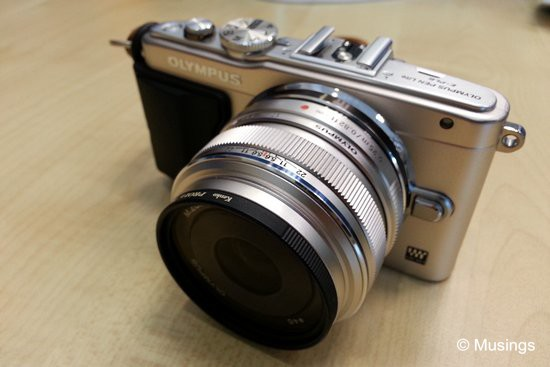 The new E-PL6, silver-edition, coupled with the 17mm f1.8 lens.