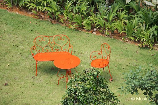Very quaint looking tables and chairs at the Croquet Lawn. Perfect for tea-time.