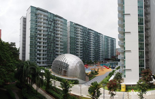 Panoramic stitch from the 5th level of the opposite HDB block.