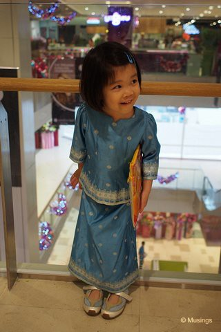 Hannah wearing the Baju Kurung at the newly opened Bedok Mall - she enjoys dressing up!