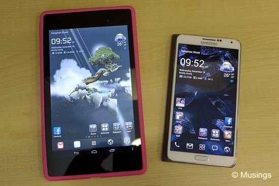 The Google Nexus 7 in hot-pink, and the Samsung Galaxy Note III.