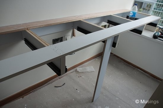 The base frame of our workroom study tables. Each table will include four drawers.