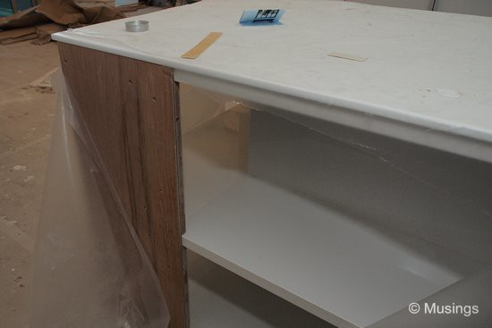 We blogged that we'd be converting the dry kitchen counter top into additional shelving; work on this item - one of the last few items remaining - has started too.