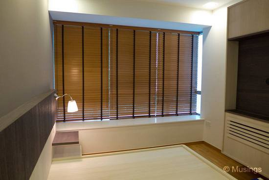 50mm timber blinds with decorative tape in the Master Bedroom.