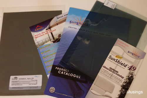 Lots of brochures and flyers from window film contractors.