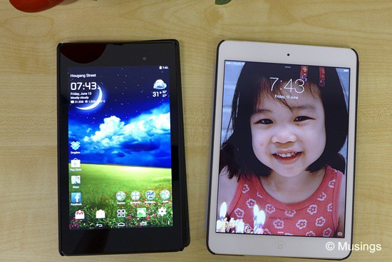 The Google Nexus 7 and iPad Mini Retina, both from 2013's line-up.