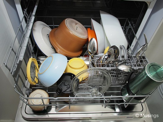 Not fully-loaded. The dishwasher can contain more material than this.