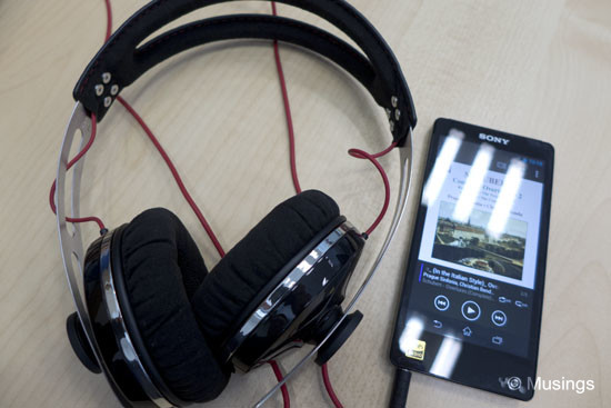 The Sennheiser Momentum hooked up with the Sony F886.