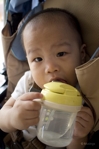 Getting Peter to learn to drink from a sippy cup. Ling thought this might help Peter transit to learn to speak words.