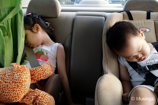 Driving home at weekday's end. We love watching kids sleep; so peaceful and in their own world.