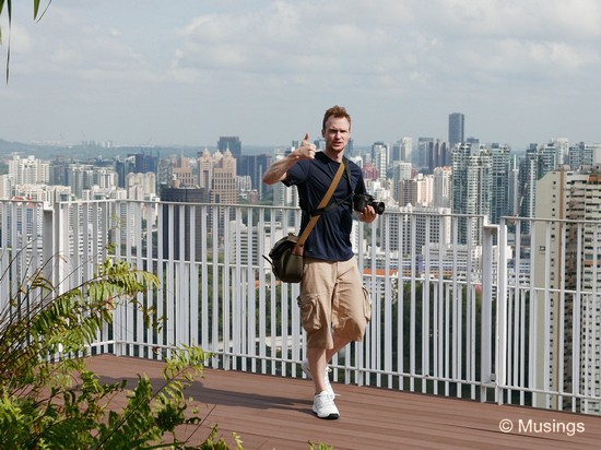 Checking the city views at the top of The Pinnacle @ Duxton yesterday morning.