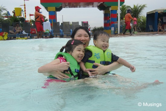 The wave pool at the Waterpark. The gently bobbing waves make for lots of fun, though the pool is also quite popular and can get crowded.