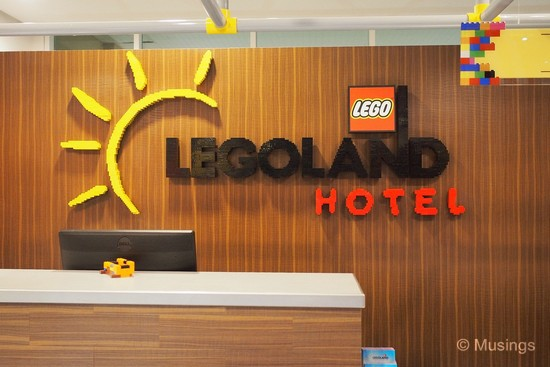 The name of the Hotel made up of Lego bricks.
