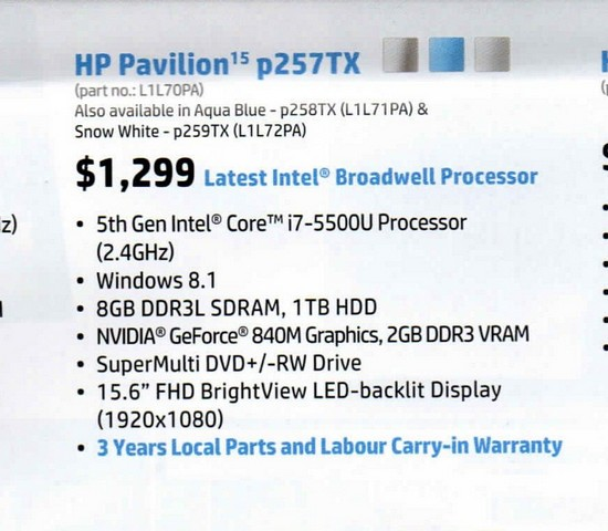 Got it for a lot cheaper than the Recommended Retail Price on the August 2015 HP Retail Guide.