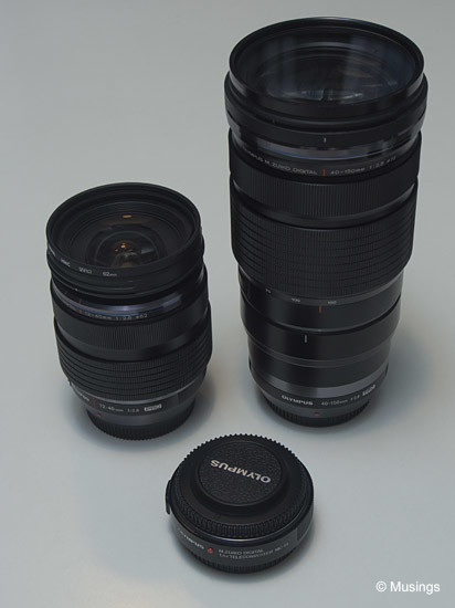 The two lenses sans hoods, with the 1.4X Teleconverter in the foreground.