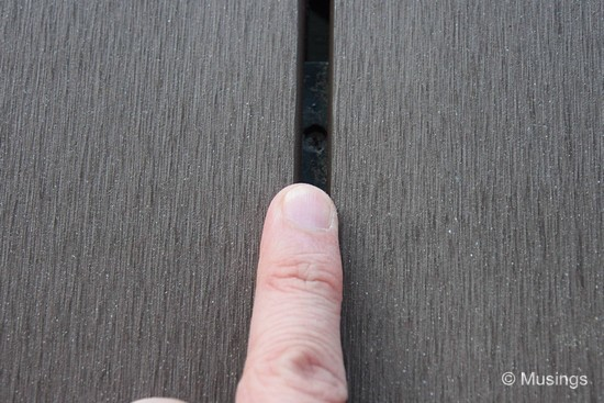 Gap between deck planks.