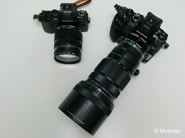 The 12-40mm with the E-M5, and the 40-15mm/1.4x teleconverter with the E-M1.