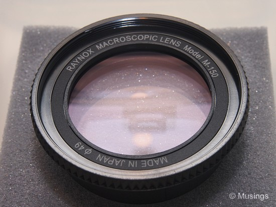 Close look at the lens. The filter size is 49mm, but the packaged universal adapter will permit the DCR150 to be mounted on a larger ranger of lens diameters.