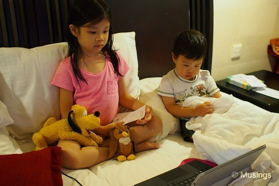 Kids settling for pre-loaded cartoons on the Surface Pro, since the room TVs only showed static.