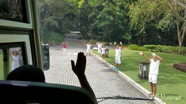 The GO team waving everyone in the bus goodbye.