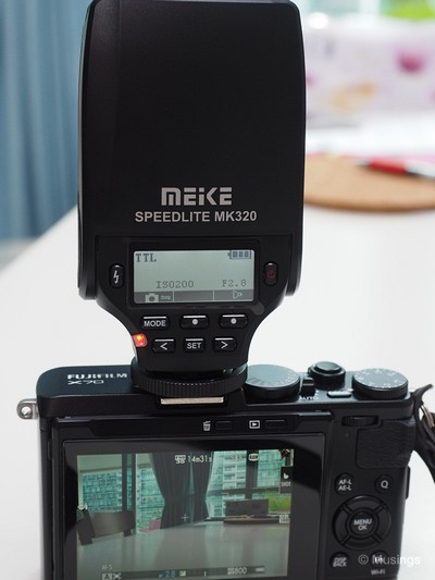 Very nifty LCD panel at the rear of the MK320. Pretty unusual inclusion for a flashgun at this price point.