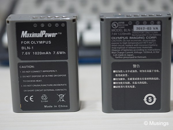 Batteries for the E-M1; the third party replacement (MaximalPower) compared with the OEM from Olympus. The replacement has worked quite well in its first extensive outing.