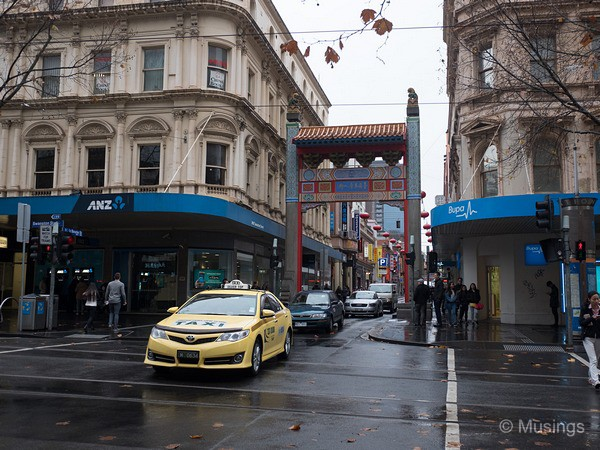 Chinatown, along little Bourke Street.