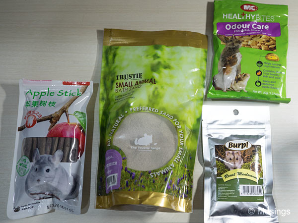 Care and concern: from left to right, chew sticks, bath sand, odour care treats, and roast mealworm treats!